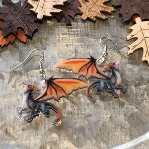 Jewelry - Orange Dragon Acrylic Earrings